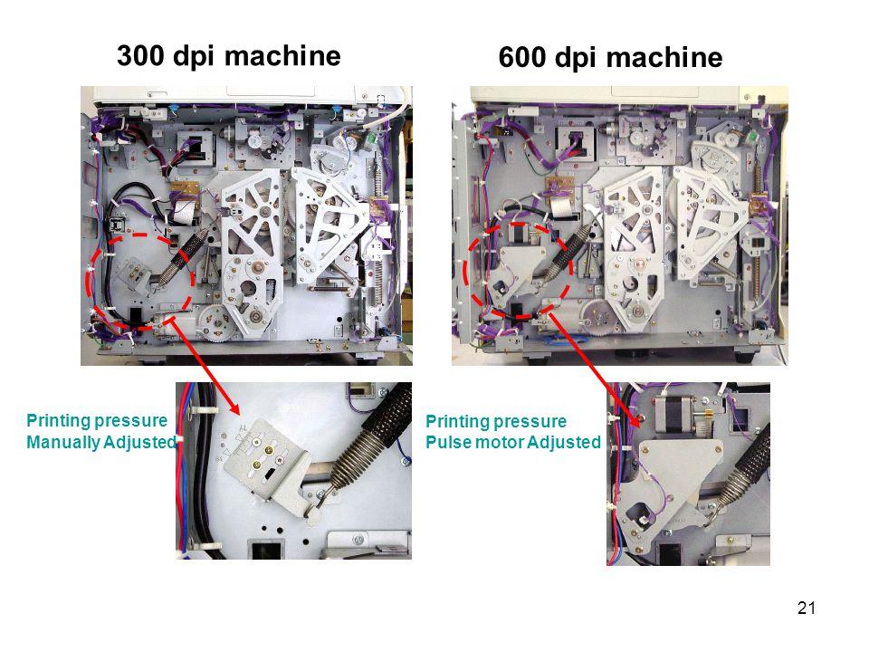 300 dpi machine 600 dpi machine Printing pressure Printing pressure