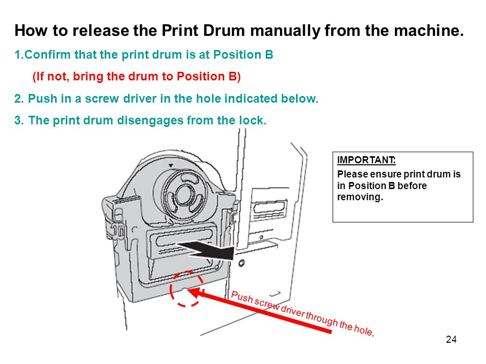 How to release the Print Drum manually from the machine.