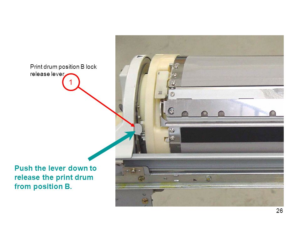 Push the lever down to release the print drum from position B.