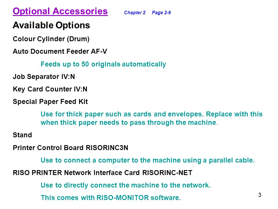 Optional Accessories Chapter 2 Page 2-6