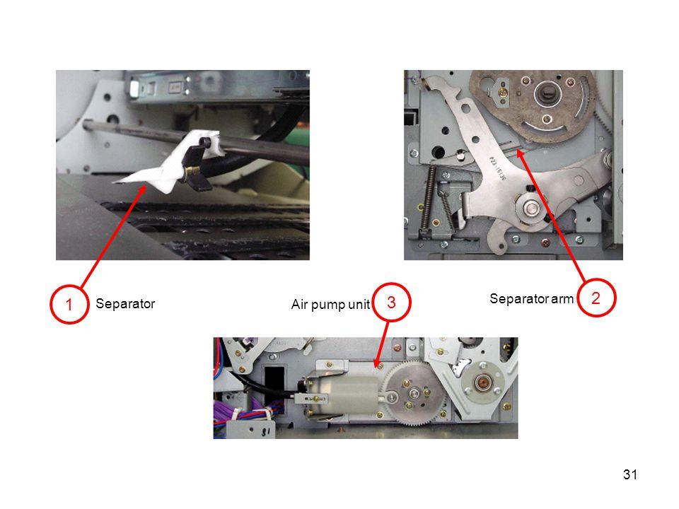 2 1 3 Separator arm Separator Air pump unit