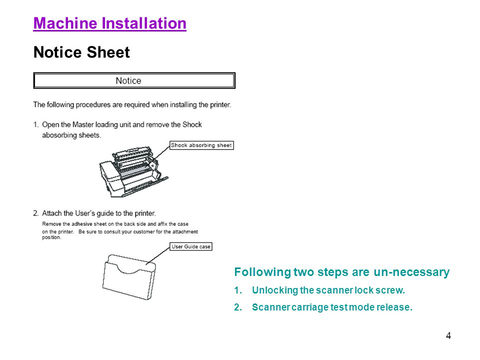 Machine Installation Notice Sheet Following two steps are un-necessary