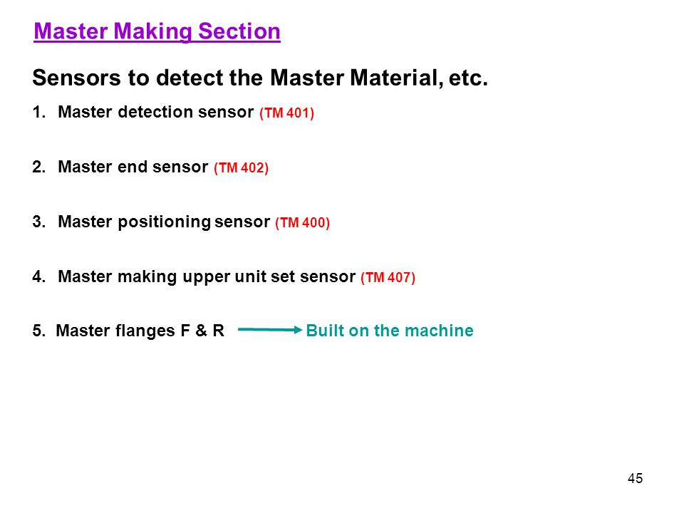 Sensors to detect the Master Material, etc.
