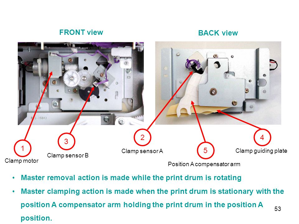 Master removal action is made while the print drum is rotating