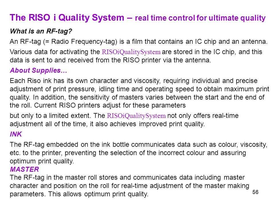 The RISO i Quality System – real time control for ultimate quality