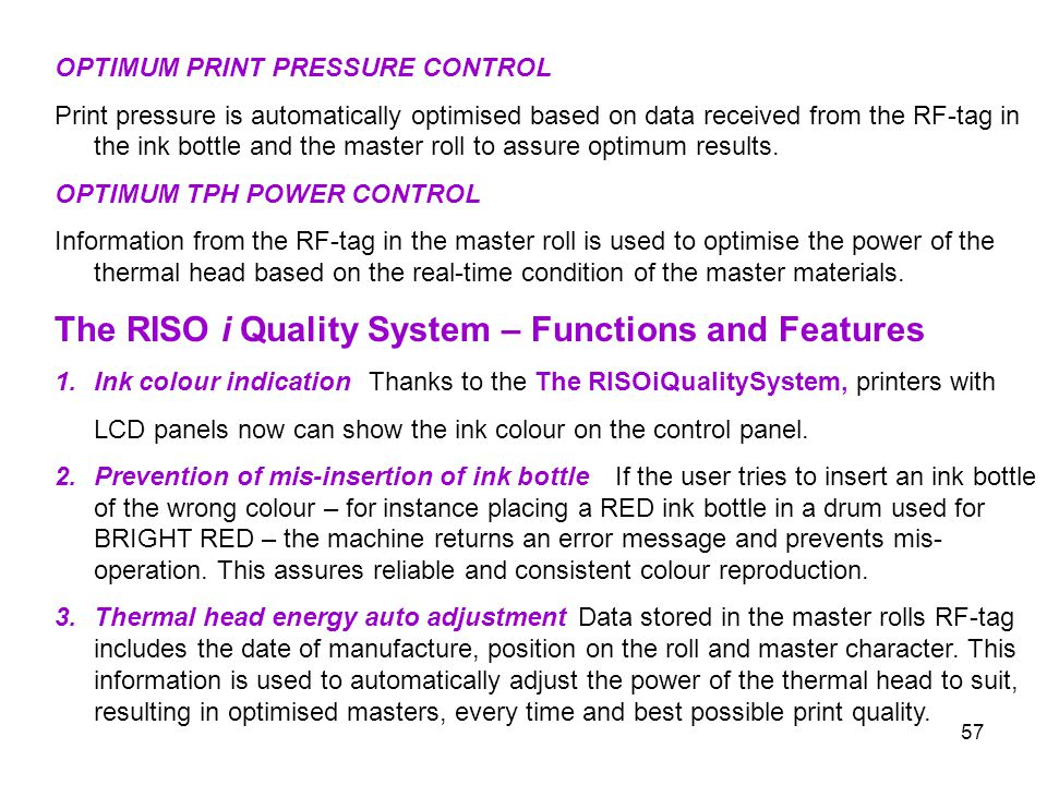 The RISO i Quality System – Functions and Features