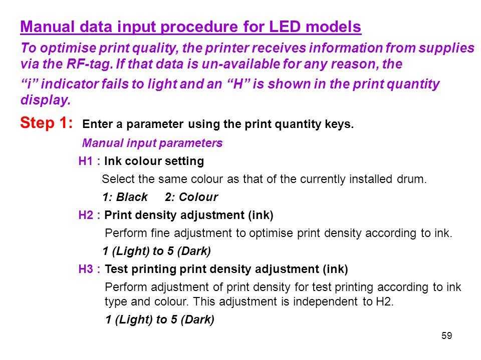 Manual data input procedure for LED models