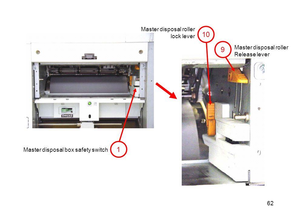 10 9 1 Master disposal roller lock lever Master disposal roller