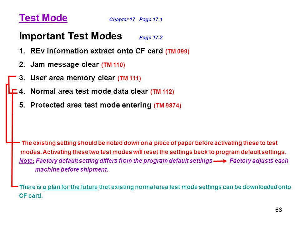 Test Mode Chapter 17 Page 17-1 Important Test Modes Page 17-2