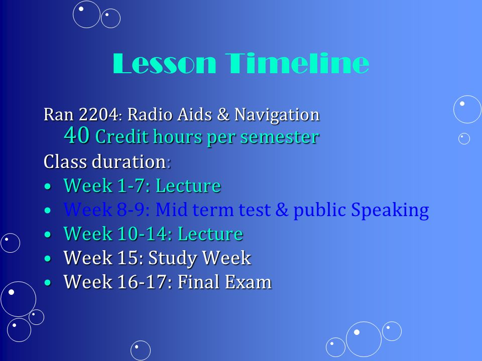 Lesson Timeline Class duration: Week 1-7: Lecture