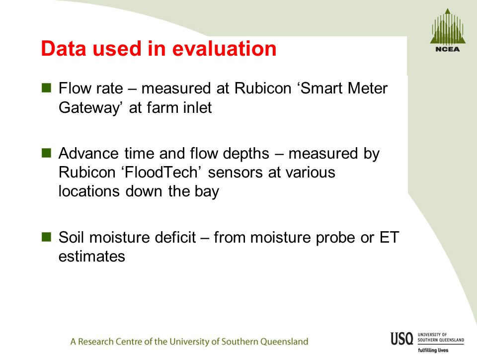 Data used in evaluation