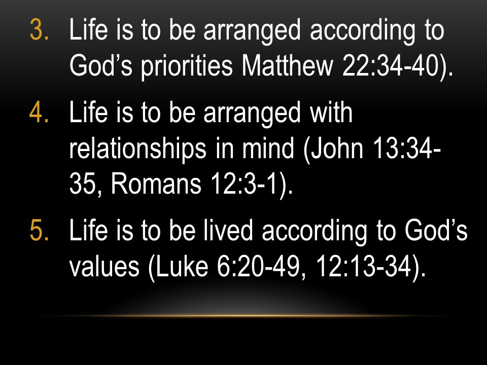 Life is to be arranged according to God's priorities Matthew 22:34-40).