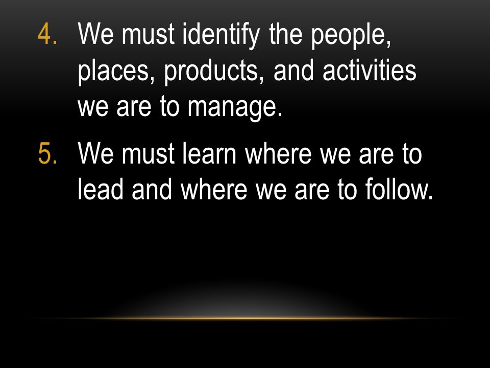 We must identify the people, places, products, and activities we are to manage.