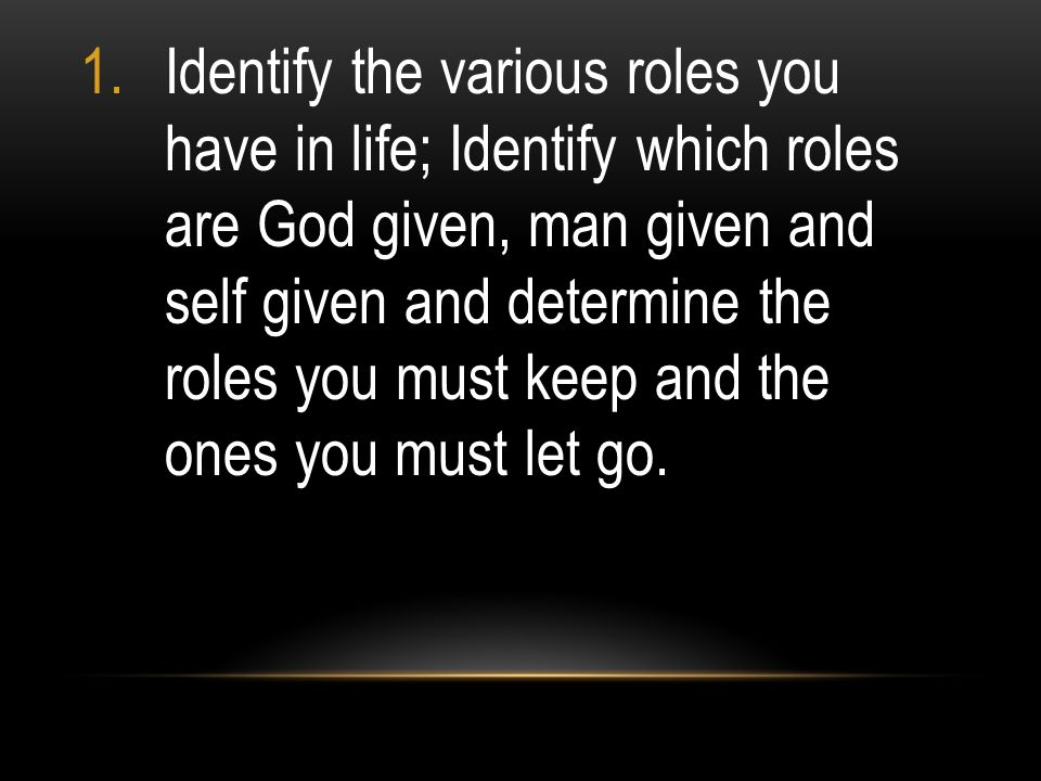 Identify the various roles you have in life; Identify which roles are God given, man given and self given and determine the roles you must keep and the ones you must let go.