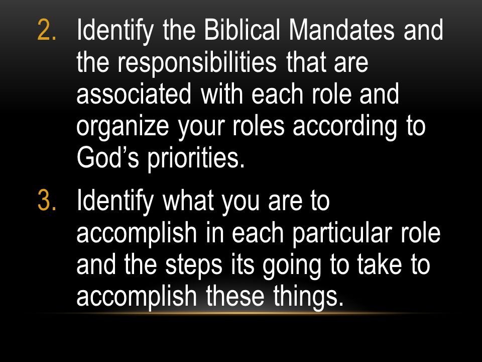 Identify the Biblical Mandates and the responsibilities that are associated with each role and organize your roles according to God's priorities.