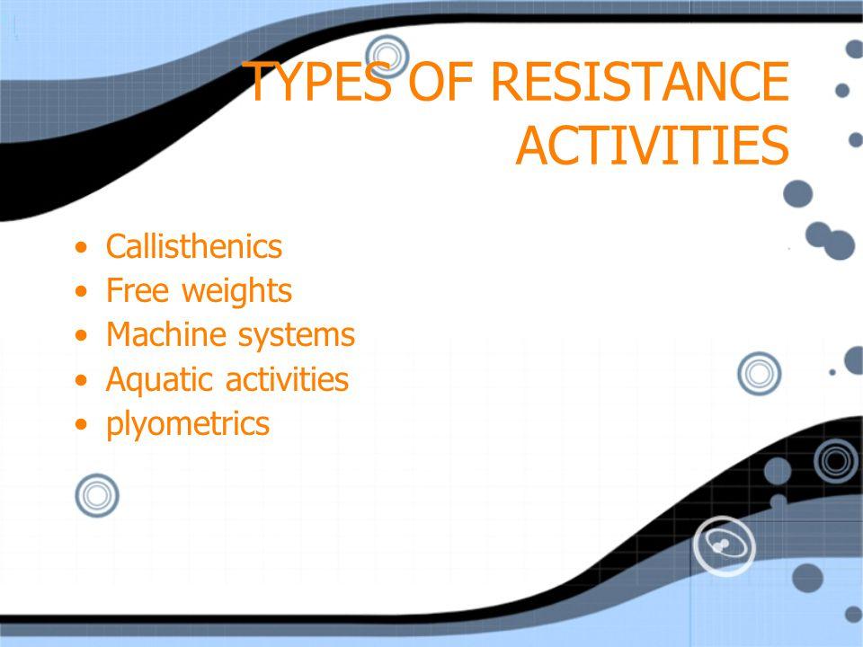 TYPES OF RESISTANCE ACTIVITIES