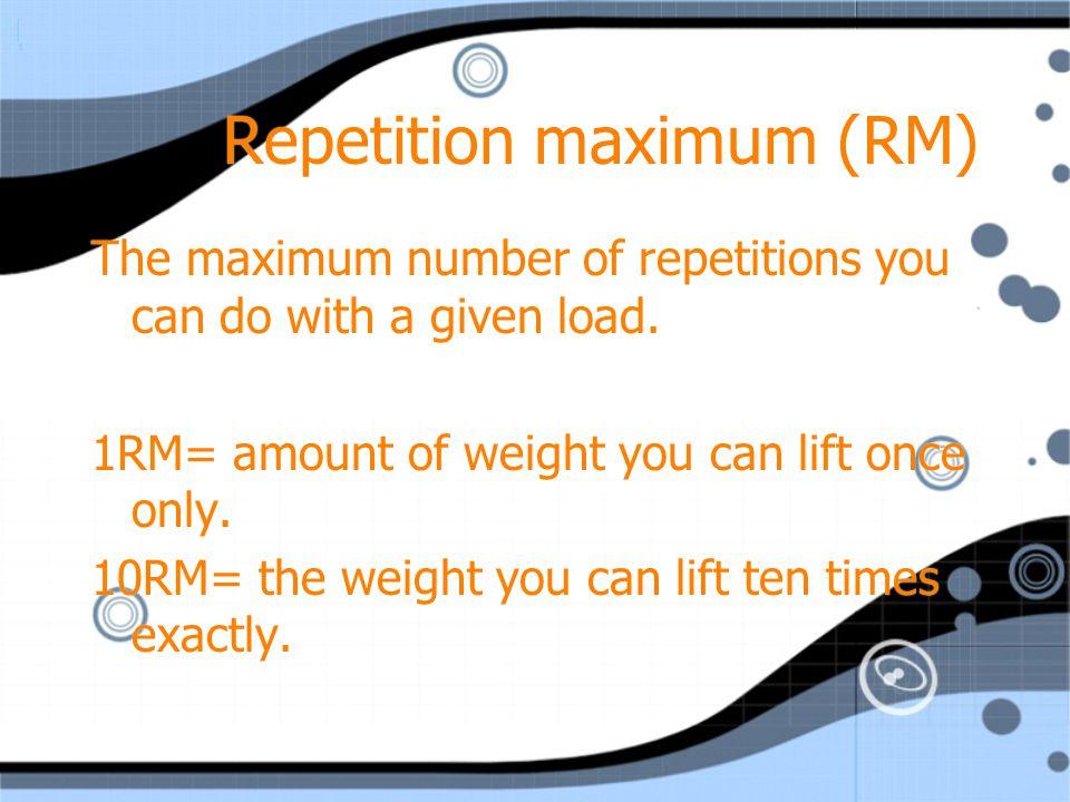 Repetition maximum (RM)
