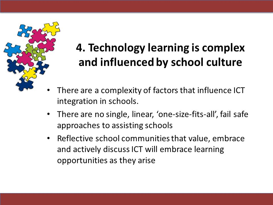 4. Technology learning is complex and influenced by school culture