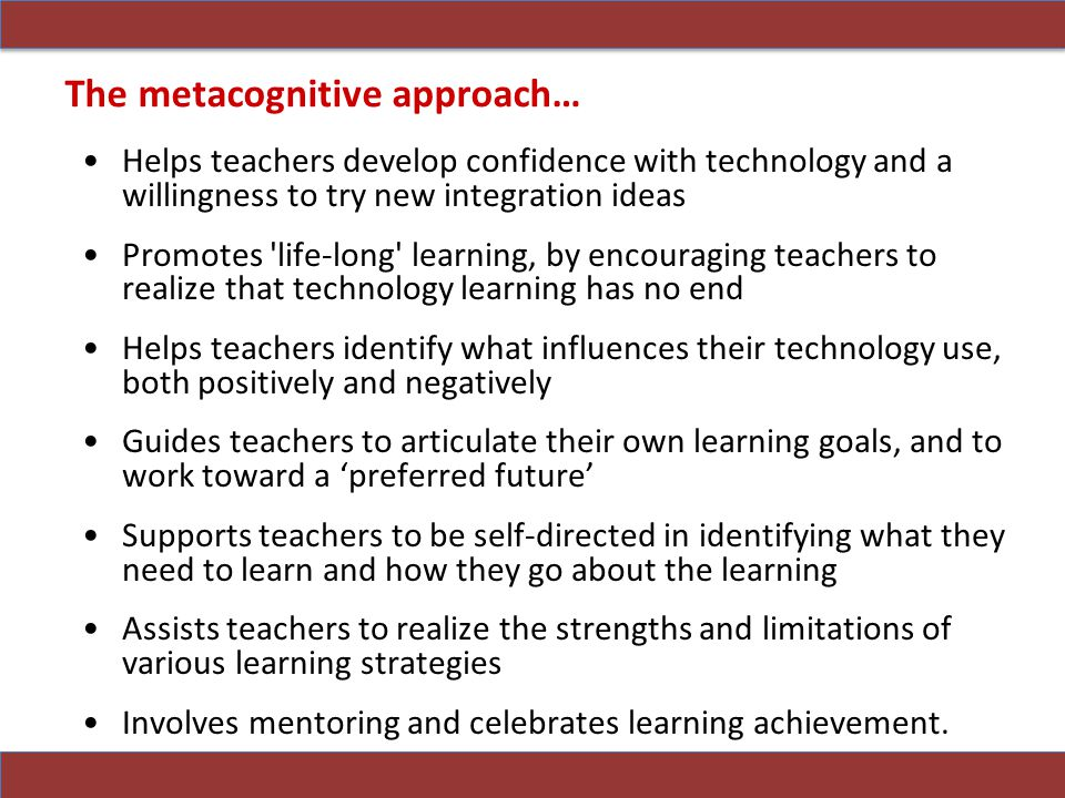 The metacognitive approach…