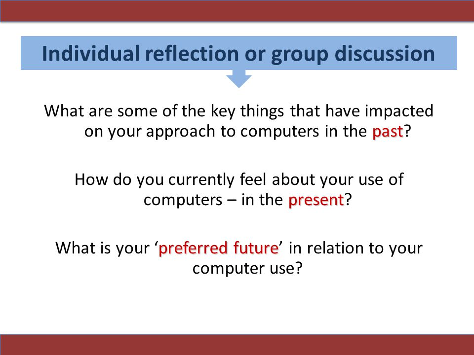 Individual reflection or group discussion