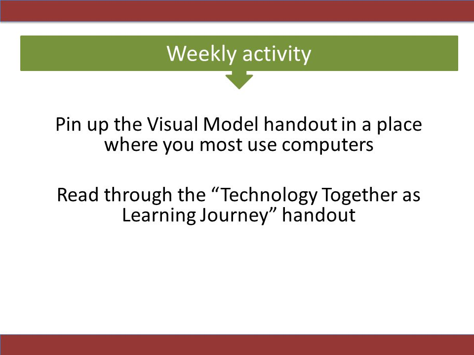 Read through the Technology Together as Learning Journey handout