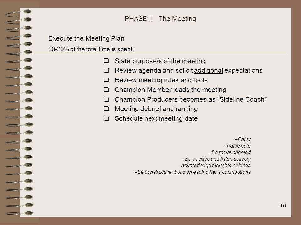 Execute the Meeting Plan