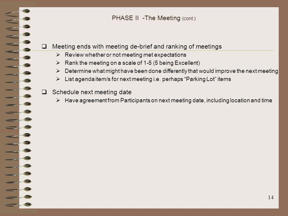 PHASE II -The Meeting (cont.)