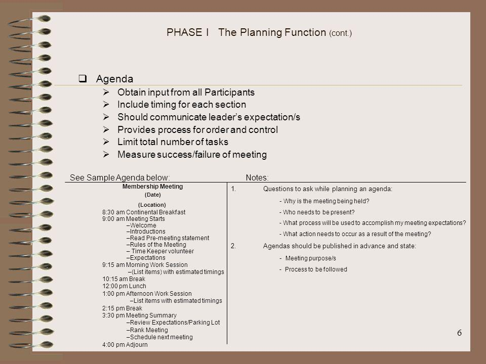 PHASE I The Planning Function (cont.)