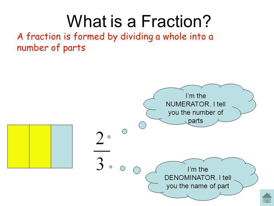 What is a Fraction A fraction is formed by dividing a whole into a number of parts. I'm the NUMERATOR. I tell you the number of parts.