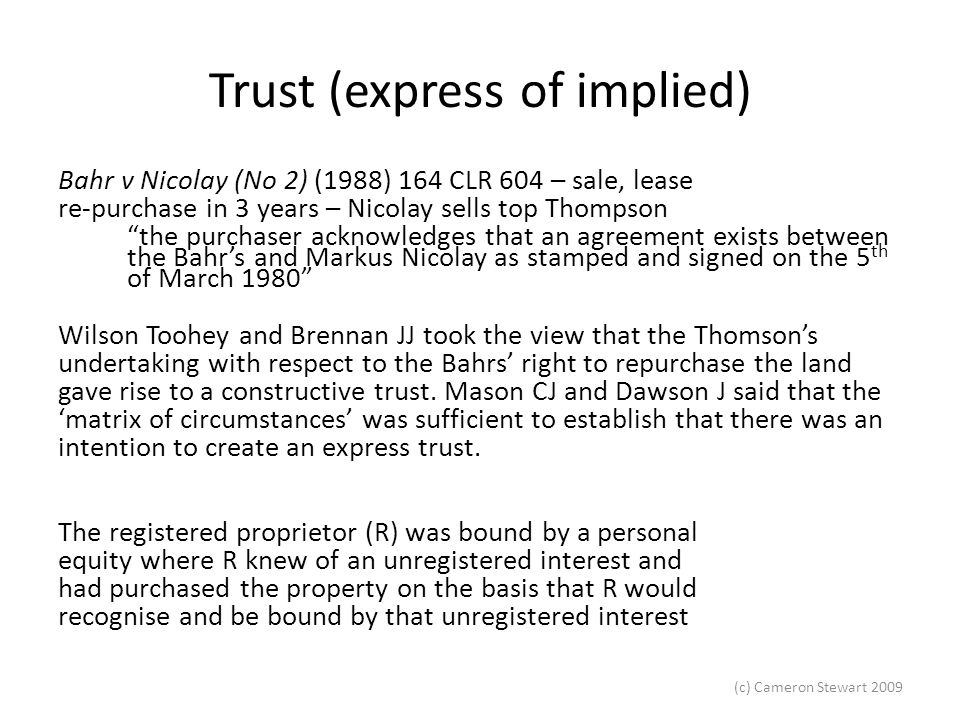 Trust (express of implied)
