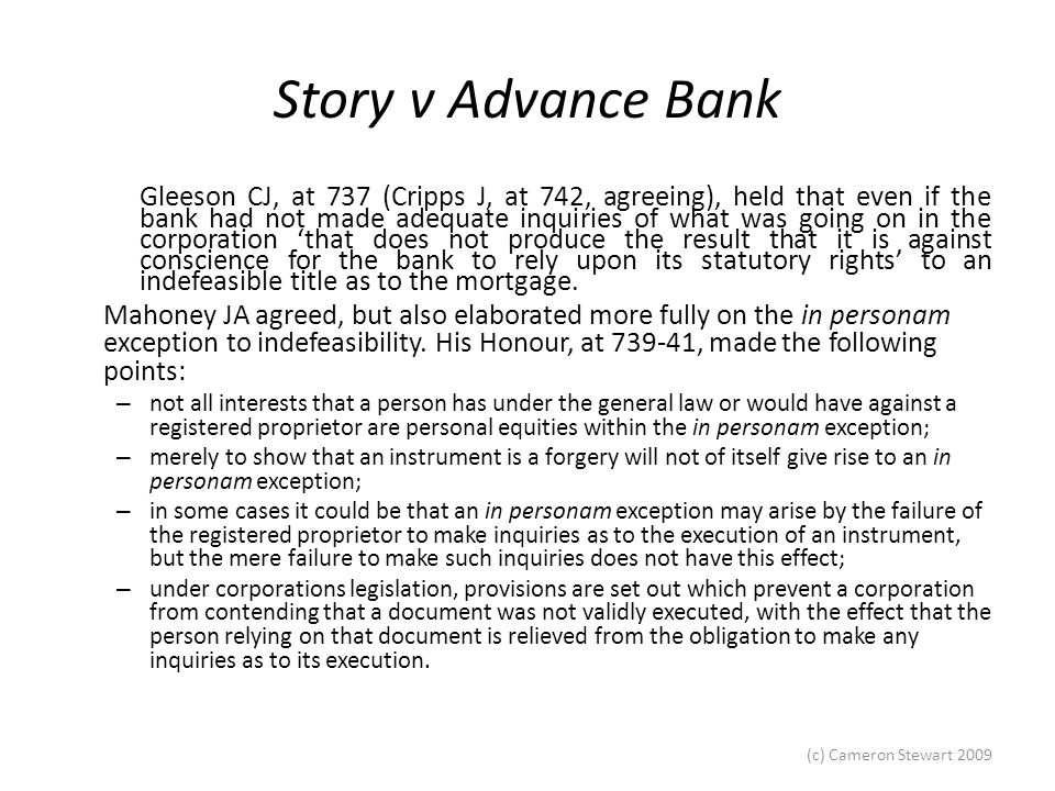 Story v Advance Bank