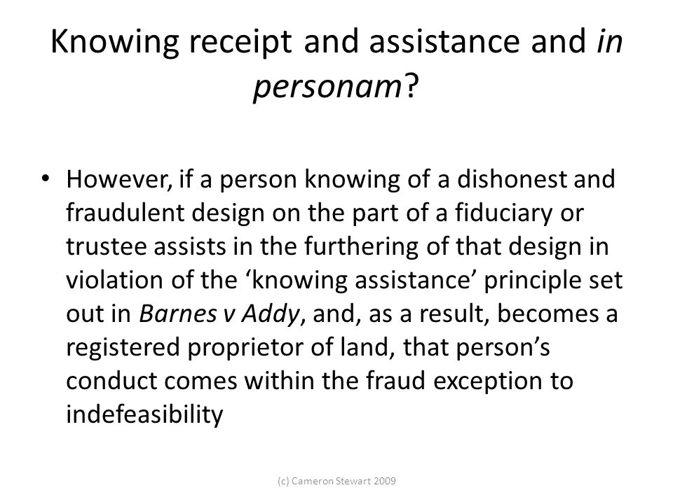 Knowing receipt and assistance and in personam