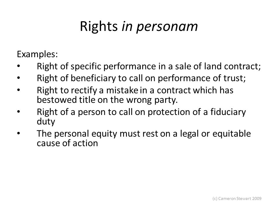 Rights in personam Examples:
