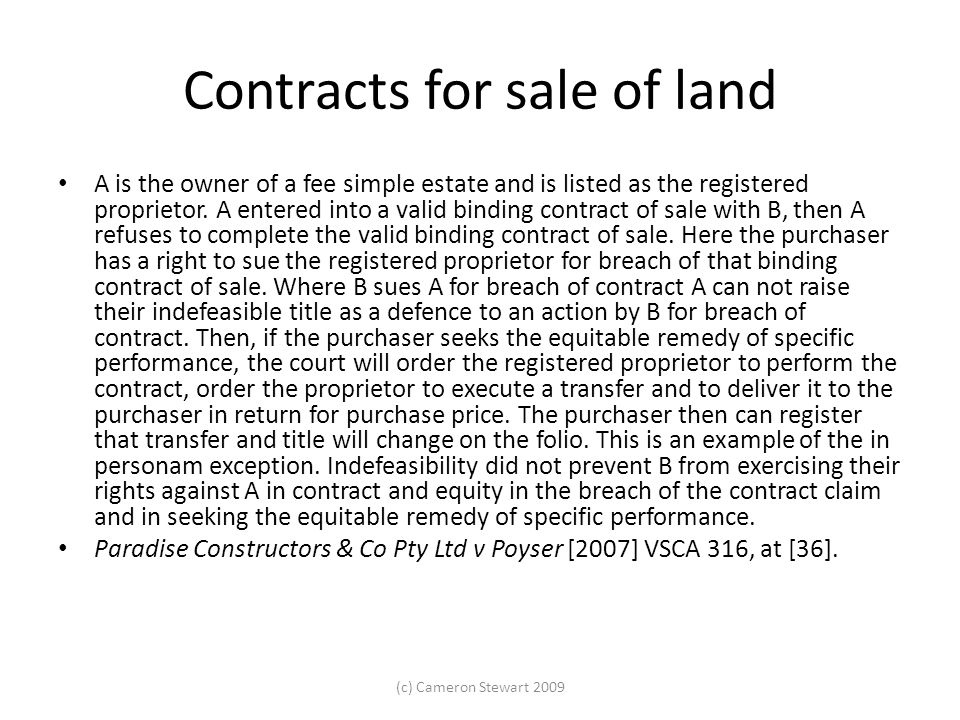 Contracts for sale of land