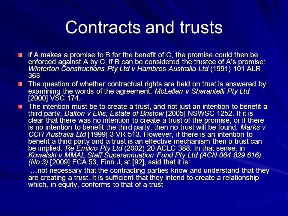 Contracts and trusts