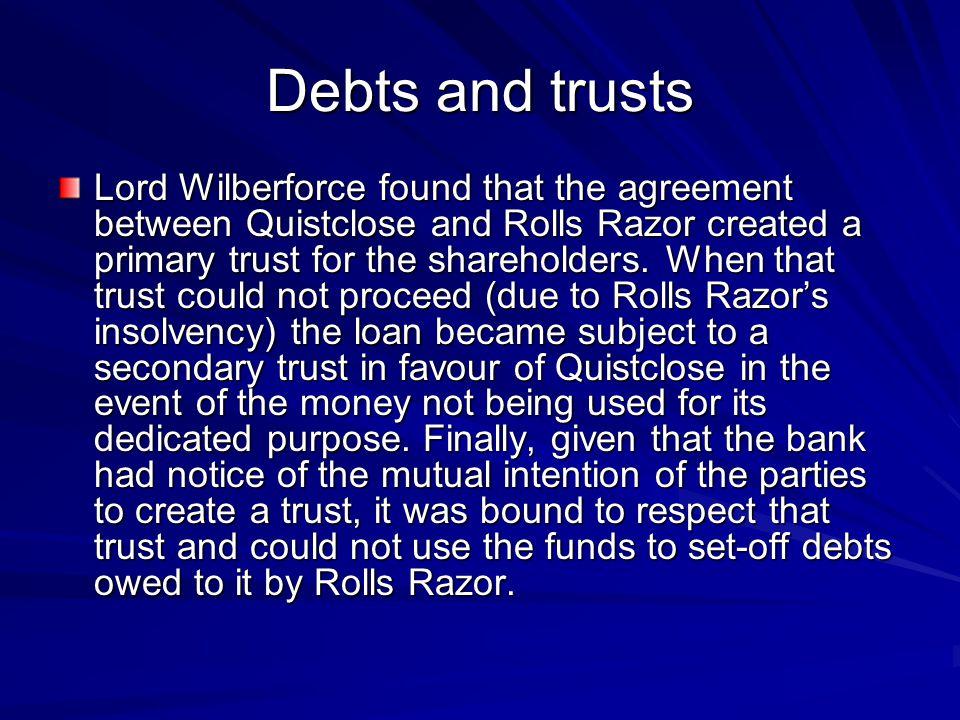 Debts and trusts