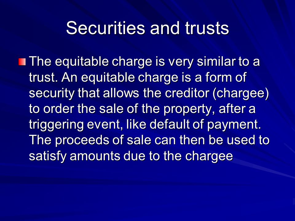Securities and trusts