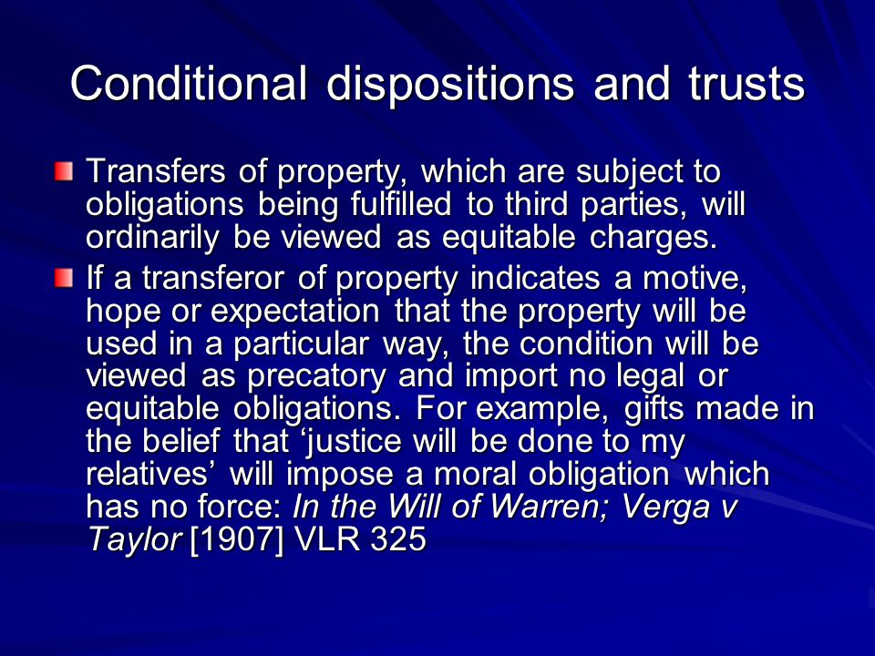 Conditional dispositions and trusts