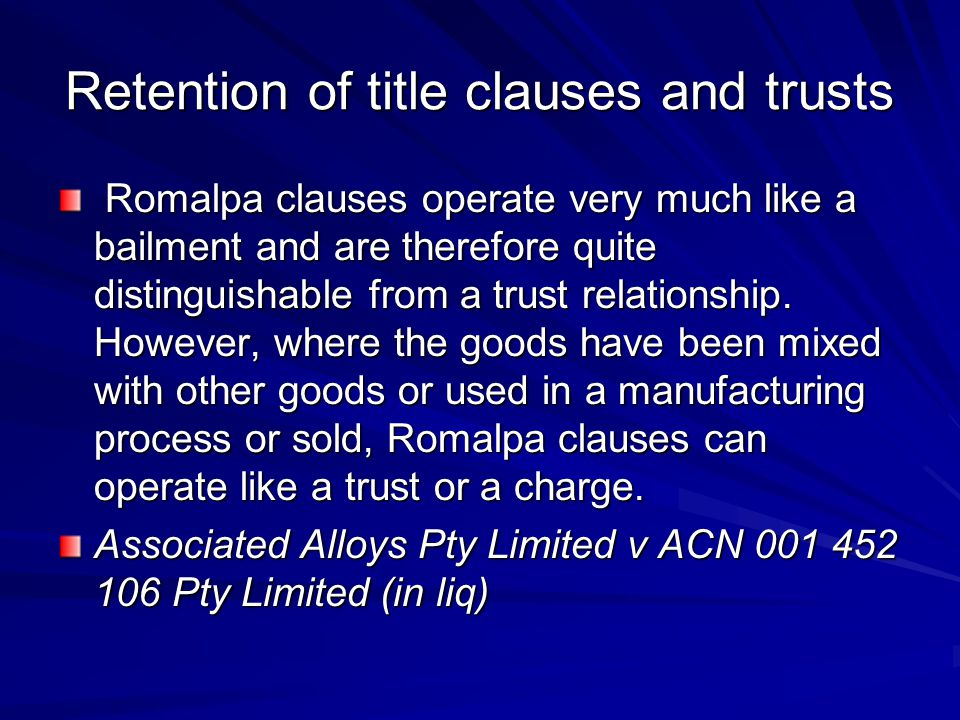 Retention of title clauses and trusts