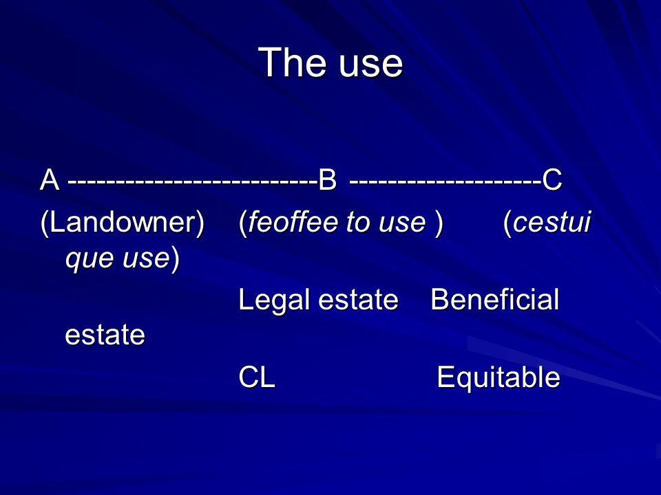 The use A --------------------------B --------------------C