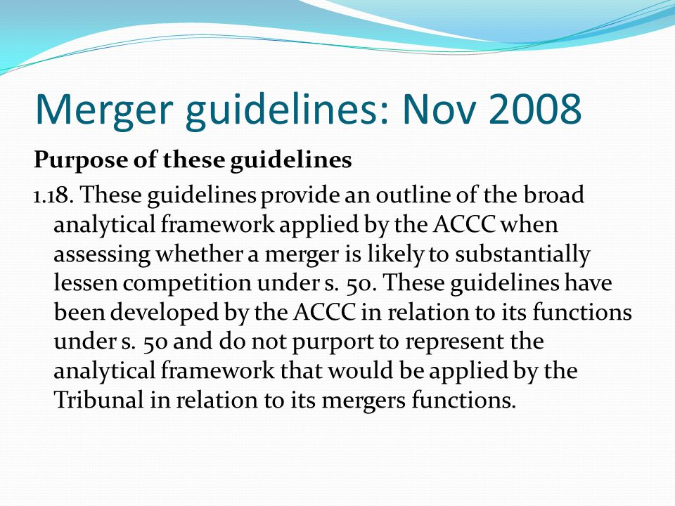 Merger guidelines: Nov 2008