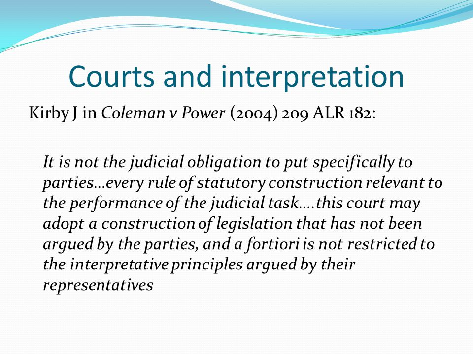 Courts and interpretation