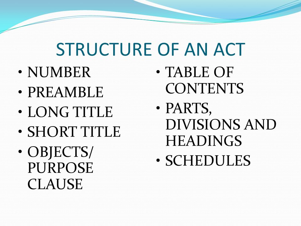 STRUCTURE OF AN ACT NUMBER PREAMBLE LONG TITLE SHORT TITLE
