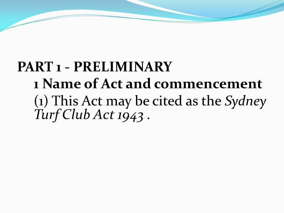 PART 1 - PRELIMINARY 1 Name of Act and commencement.
