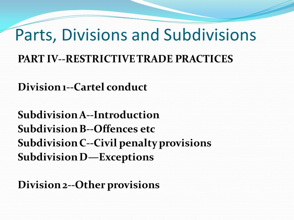 Parts, Divisions and Subdivisions