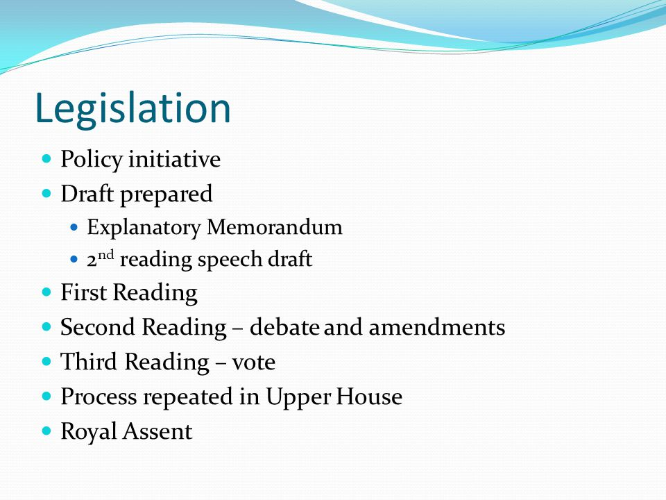 Legislation Policy initiative Draft prepared First Reading