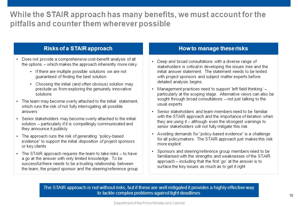 Risks of a STAIR approach How to manage these risks