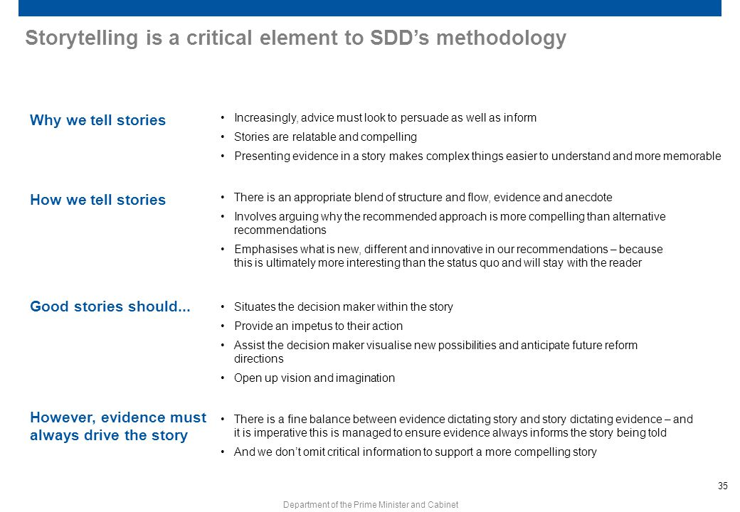 Storytelling is a critical element to SDD's methodology