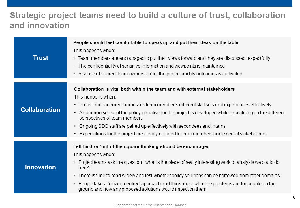 Strategic project teams need to build a culture of trust, collaboration and innovation