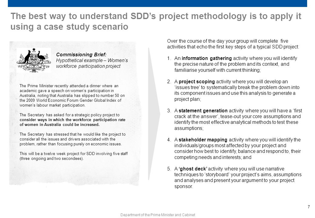 The best way to understand SDD's project methodology is to apply it using a case study scenario